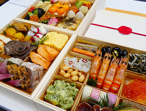 料理研究家、大原千鶴監修のしあわせおせち。大丸・松坂屋のおせち。